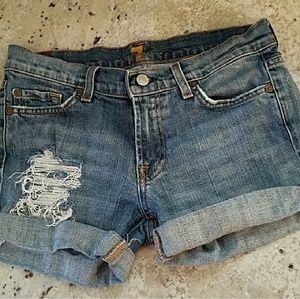 Distressed Jean shorts with pocket detail
